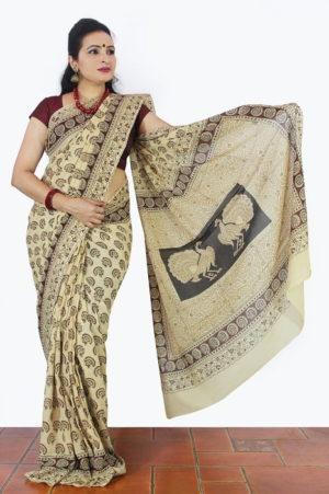 Hand Block Printed Machilipatnam Kalamkari Saree H1