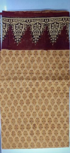 GiTAGGED® Haldi Floral Enclosed Motif Hand Block Printed Machilipatnam Kalamkari Saree photo review