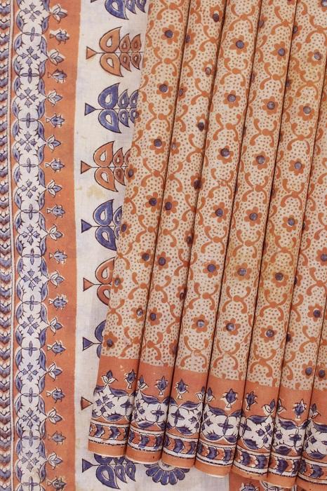 Kalamkari hand block printed Sarees 14a