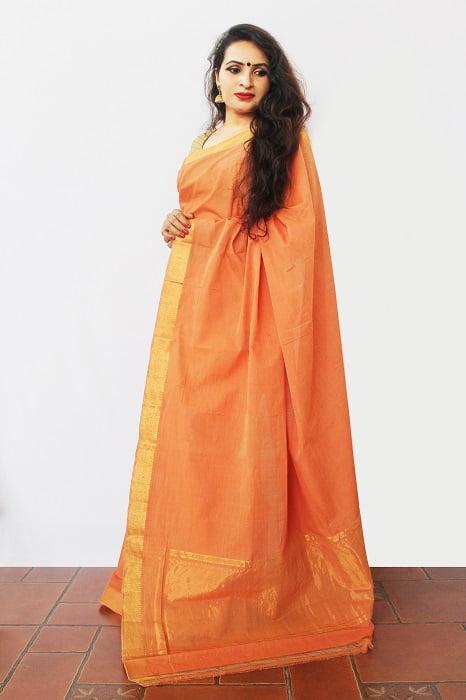 Mangalagiri saffron with golden Cotton Saree 2