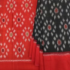Black Pochampally Cotton Saree with Floral Patterned Red Pallu