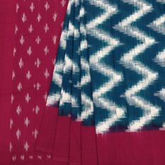 Blue-Red Double Ikat Seamless Pattern Pure Cotton Saree with Designer Pallu - Womens Clothing