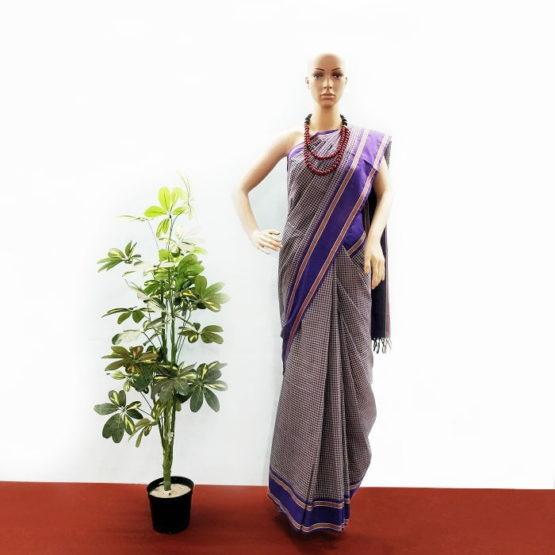 GiTAGGED Udupi Blue Small Checks Pure Cotton Saree 1