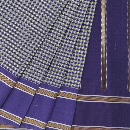 GiTAGGED Udupi Blue Small Checks Pure Cotton Saree 2