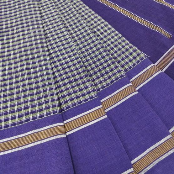 GiTAGGED Udupi Blue Small Checks Pure Cotton Saree 3