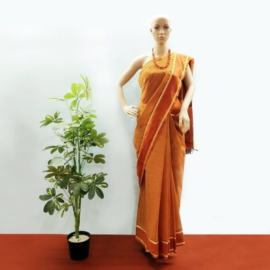 GiTAGGED Udupi Brown Small Checks Pure Cotton Saree 1