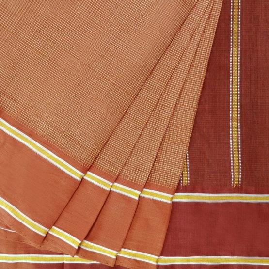 GiTAGGED Udupi Brown Small Checks Pure Cotton Saree 2