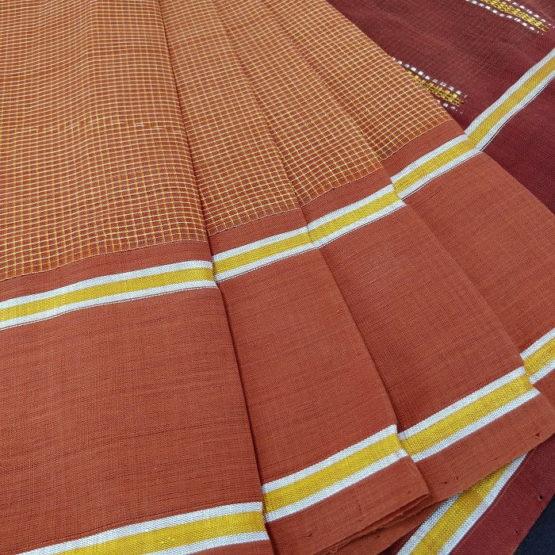 GiTAGGED Udupi Brown Small Checks Pure Cotton Saree 3