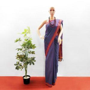 GiTAGGED Udupi Indigo Solid Pure Cotton Saree 1