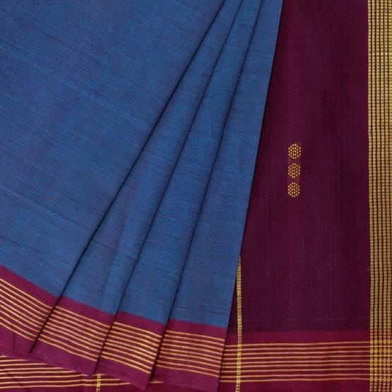 GiTAGGED Udupi Indigo Solid Pure Cotton Saree 2