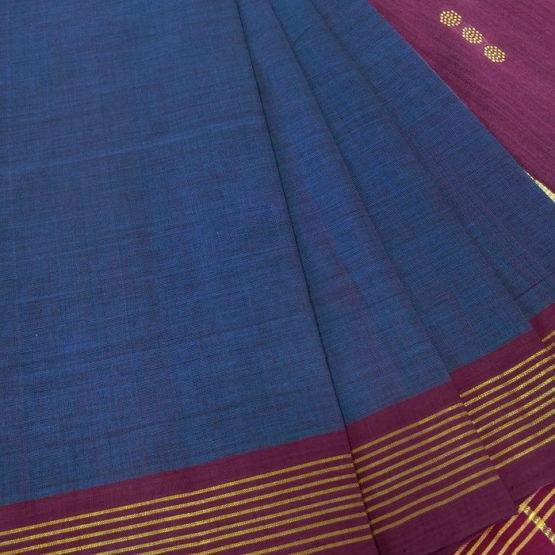 GiTAGGED Udupi Indigo Solid Pure Cotton Saree 3