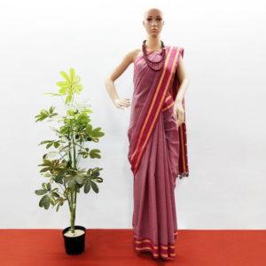 GiTAGGED Udupi Pink small checks Pure Cotton Saree 1