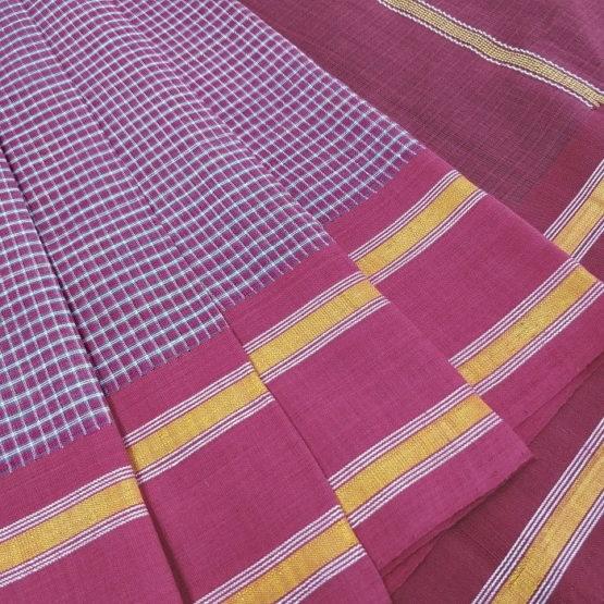 GiTAGGED Udupi Pink small checks Pure Cotton Saree 3