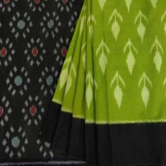 Green Saree with Black Pallu and Floral Design - GI Tagged
