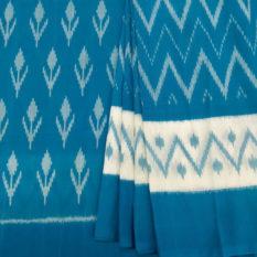Blue Cotton Saree with Designer Pallu