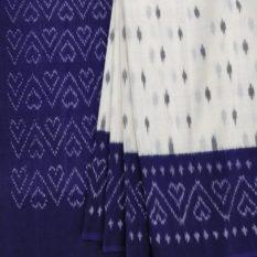 White Pochampally Saree with Purple Pallu