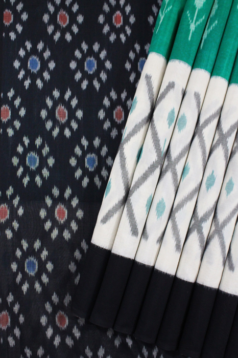 Pochampally Double Ikat Hand Woven Pure Cotton Saree (1)