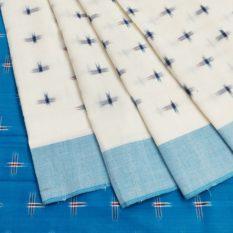 Cream-Blue Single Ikat Cross Pattern Pure Cotton Saree