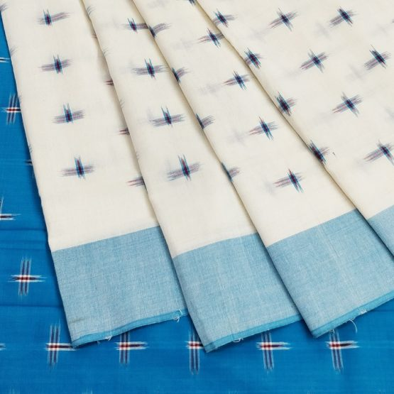Cream-Blue Single Ikat Cross Pattern Pure Cotton Saree
