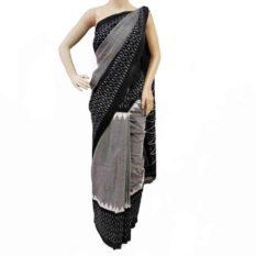 double ikat sarees - grey-black saree online