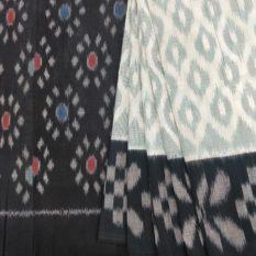 pochampally cotton sarees - grey-black colour saree