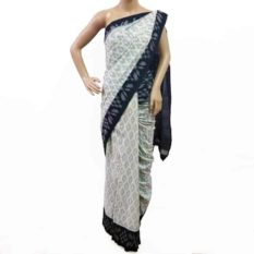 Grey-Black Double Ikat Geometric Pattern Pure Cotton Saree