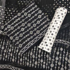 Circle-Chain Pattern Cotton Salwar Suit Material with Chiffon Dupatta - Black-White