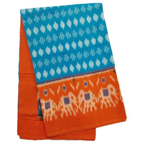 Blue-Orange Pochampally Ikat Saree