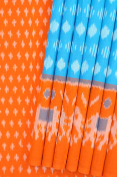 Blue-Orange Double Ikat Geometric Pattern Pure Cotton Saree (1)