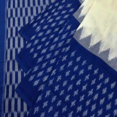 Blue-White Double Ikat Weave Pattern Pure Cotton Pochampally Saree