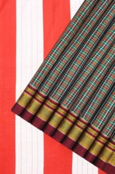 Checked Silk Cotton Sarees Online 1