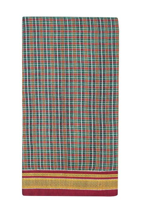 Checked Silk Cotton Sarees Online 5