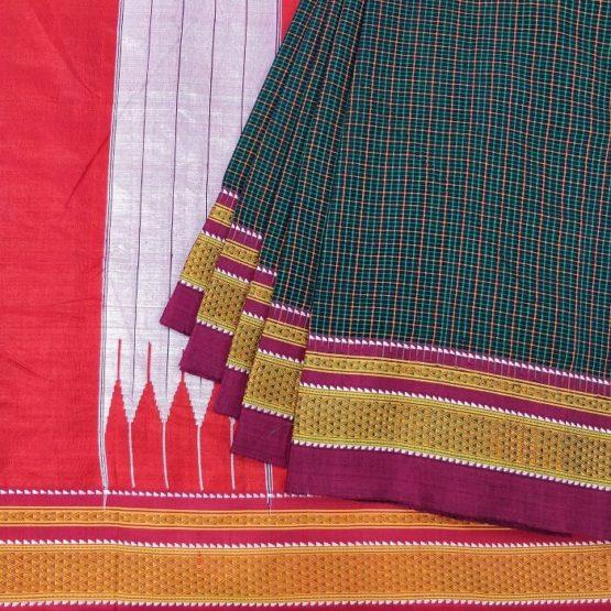 GI tag - Cotton Black Saree with Red Silk Pallu