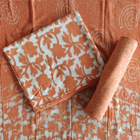Art Nouveau Motif Cotton Salwar Suit Material with Chiffon Dupatta - Orange-White