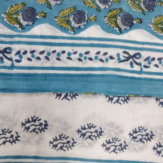White-Blue Color Sanganeri Print Dress Material - GI Tagged
