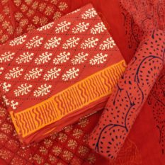 Argyle Motif Cotton Salwar Suit Material with Chiffon Dupatta - Red-White