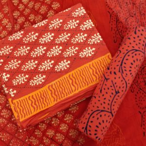 Argyle Motif Cotton Salwar Suit Material with Chiffon Dupatta - Red-White