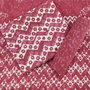 Chevron-Floral Motif Cotton Salwar Suit Material with Chiffon Dupatta - Pink-White