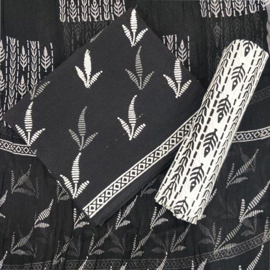 Three Petal Flower Motif Cotton Salwar Suit Material with Chiffon Dupatta - Black-White