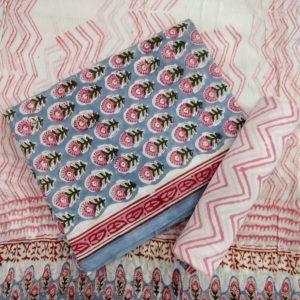 Floral-Chevron Motif Cotton Salwar Suit Material with Chiffon Dupatta – Pink-Cream
