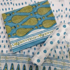 Polka-Dot Pattern Cotton Salwar Suit Material with Chiffon Dupatta – White-Blue
