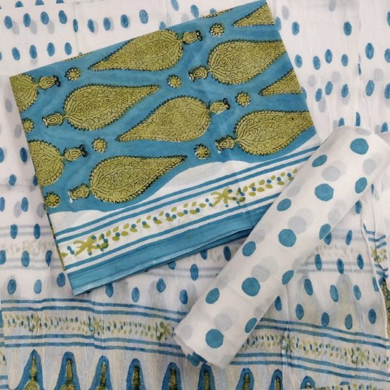 Polka-Dot Pattern Cotton Salwar Suit Material with Chiffon Dupatta – White-Blue