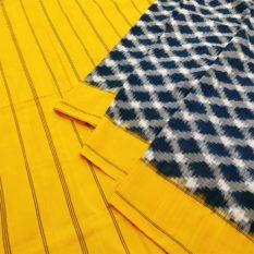 Yellow-Blue Double Ikat Chequered Pattern Pure Cotton Pochampally Saree