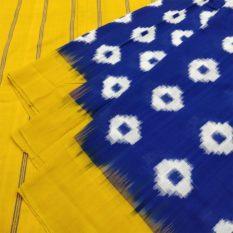 Blue-Yellow Double Ikat Rhombus Pattern Pure Cotton Pochampally Saree