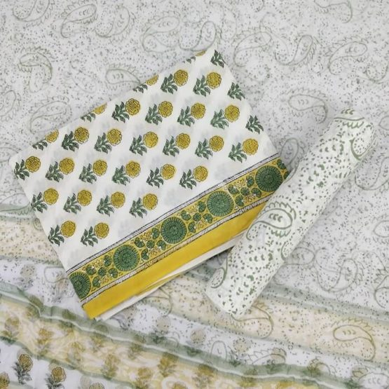 Paisley-Floral Motif Cotton Salwar Suit Material with Chiffon Dupatta - White-Green