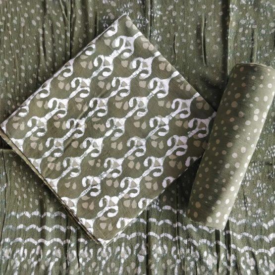 Dot Motif Cotton Salwar Suit Material with Chiffon Dupatta - Green-White