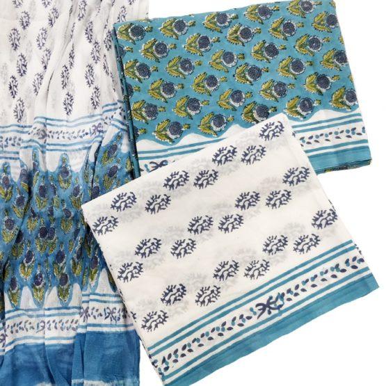 GI Tag - Floral Pattern Design Cotton Salwar with Chiffon Dupatta