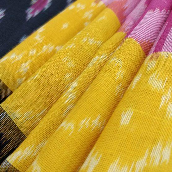 Geometric Pattern Saree with Designer Yellow Border Online