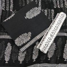 Big Tree Motif Cotton Salwar Suit Material with Chiffon Dupatta - Black-White