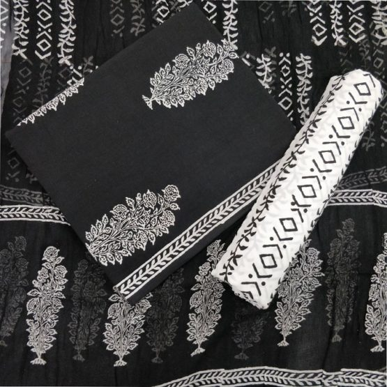 Big Tree Motif Cotton Salwar Suit Material with Chiffon Dupatta - Black-White